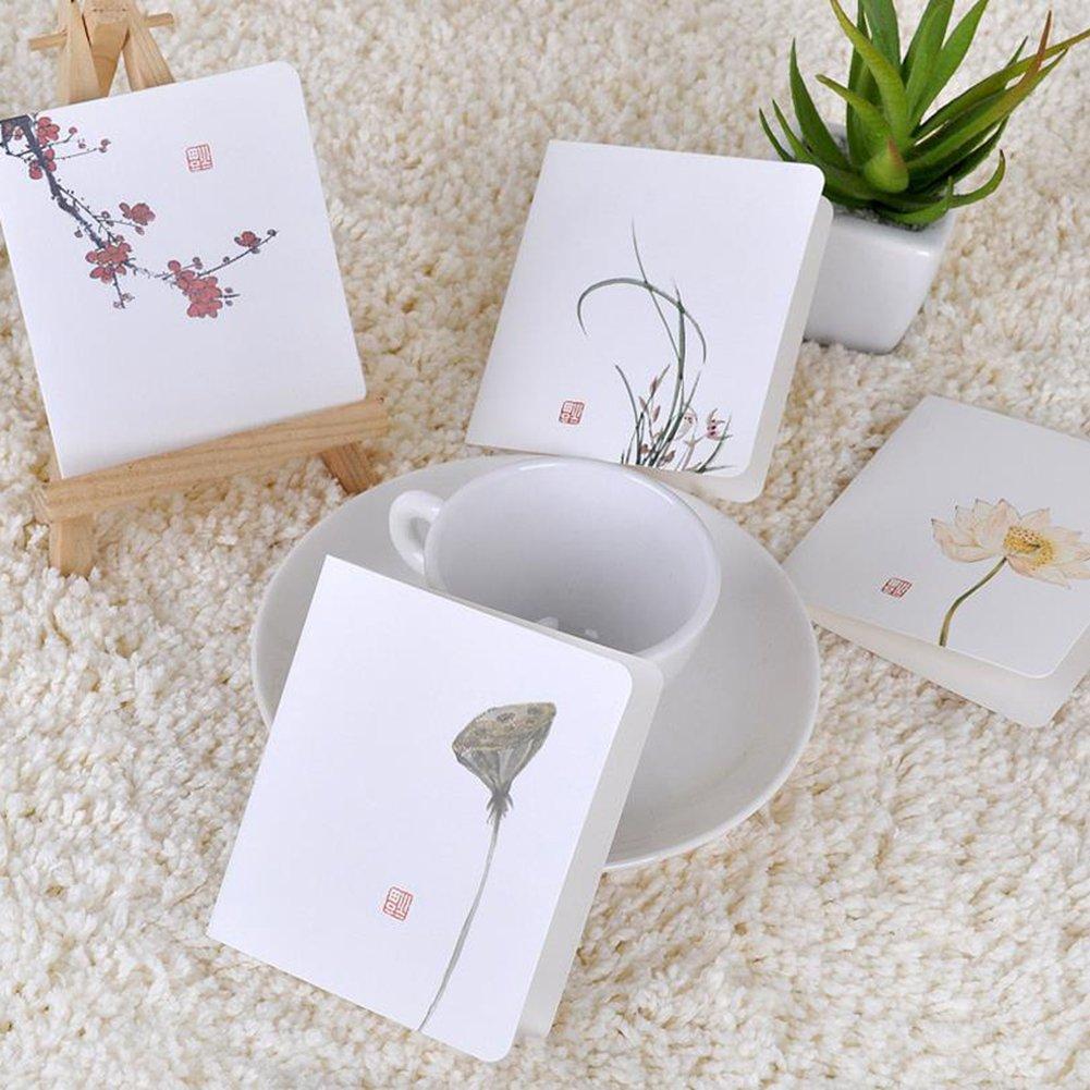 Leisial 10/pz Lotus biglietti di auguri con busta cultura cinese poesia Classic Paper Cards per matrimonio San Valentino compleanno regalo 15.6*8.7/cm