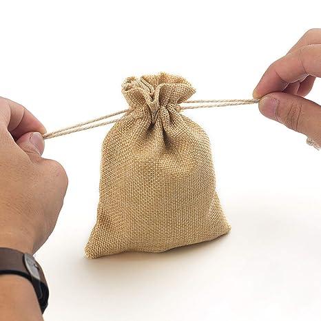 Amazon.com: yuxier 50Piece Burlap bolsas con cordón bolsas ...
