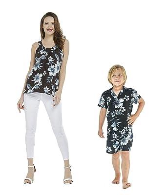 9df60284342 Amazon.com: Matching Mother Son Hawaiian Luau Outfit Top Shirt in ...