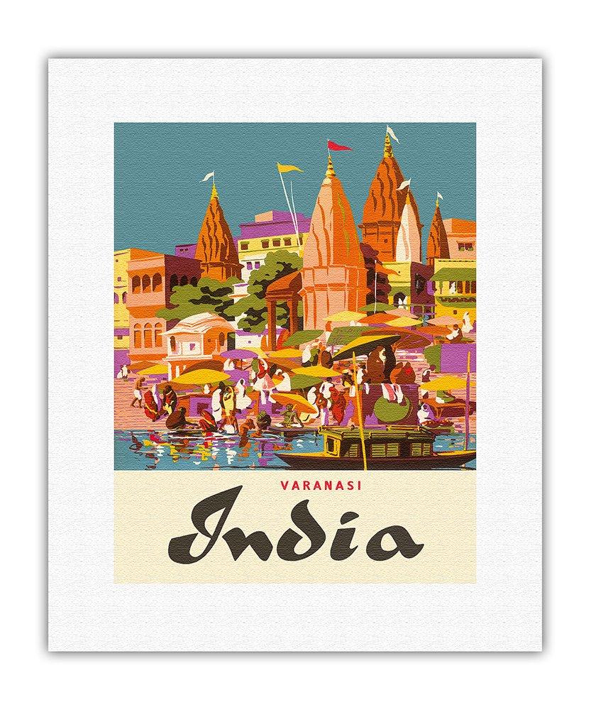 バラナシ、インド ガンジス川 ウッタルプラデーシュ州(ベナレス、バナーラス、カシュガル) マニカニカバーニングガート ビンテージな世界旅行のポスター によって作成された チャールズバスカヴィル c.1959 キャンバスアート 28cm x 36cm キャンバスアート(ロール) B00N2DMH6M 76cm x 112cm 76cm x 112cm