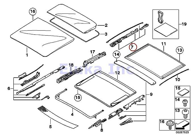 Bmw Genuine Panoramic Roof Sunroof Repair Kit For Sunroof Glass Rear