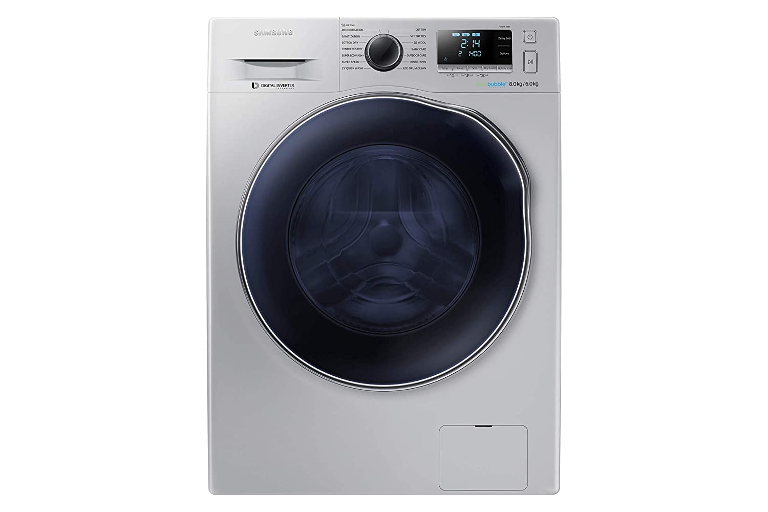 Samsung WD80J6410AS/TL Fully automatic Front loading Washing Machine  8 Kg, Silver  Washing Machines   Dryers