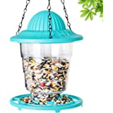 Humming Bird Feeder Waterproof with Rotating Lock, Small Foldable Wild Bird Perch Feeders for Outside Hanging, Panoramic Humm