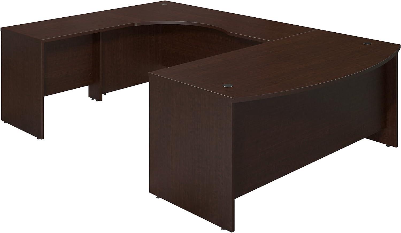 Bush Business Furniture Series C Elite 72W x 36D Left Hand Bowfront U Station Desk Shell in Mocha Cherry