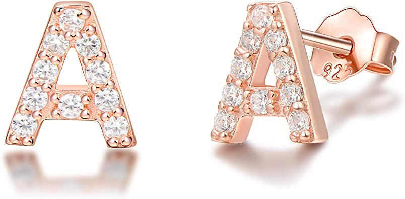 Round Cut White Cubic Zirconia AlphabetA Initial Letter Stud Earrings in 14k White Gold Over Sterling Silver