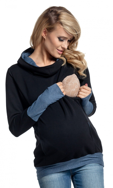 Happy Mama. Women's Nursing Hoodie Breastfeeding Contrast Detail Maternity. 330p nursingtop_330