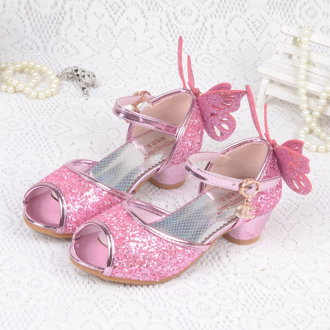 JTENGYAO Child Baby Girls Princess Shoes Glitter Dance Shoes Buckle Strap