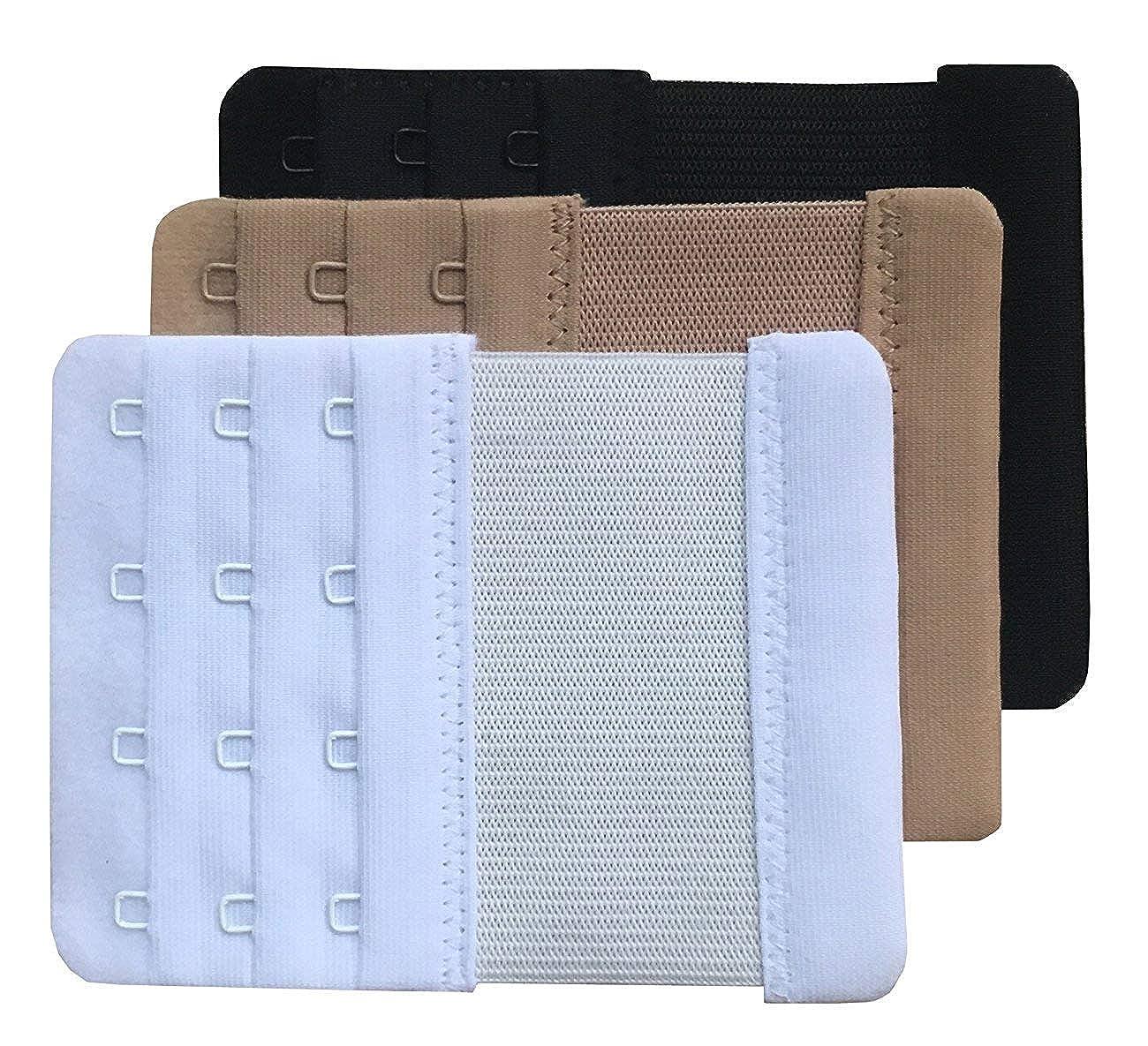 HomeWholesaleMarket Women Soft Comfortable 4 Hooks Bra Extender Pack of 3 - Multi Color