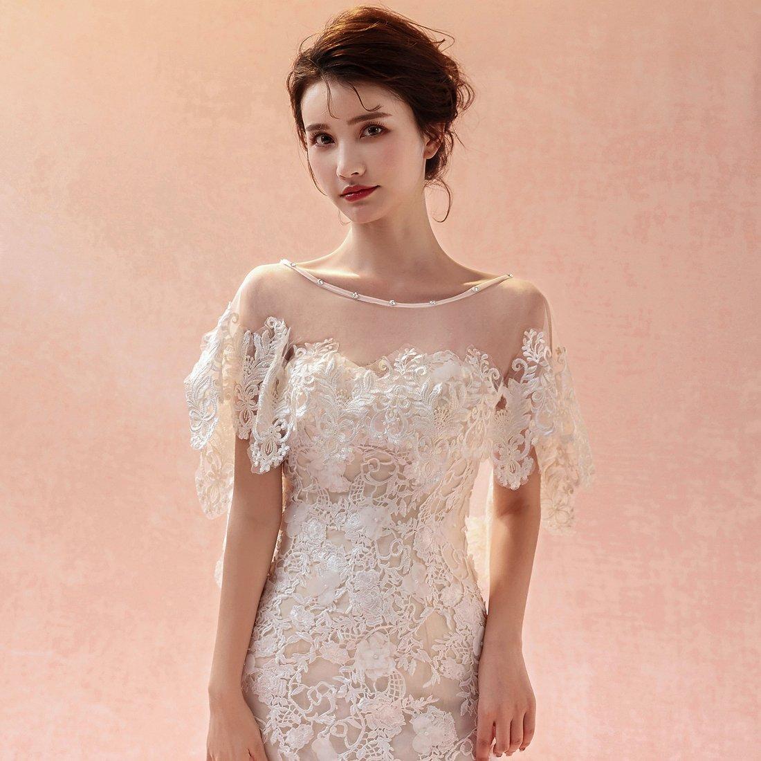 Womens Champagne Wraps Cape Lace Shawl for Wedding Dresses C1C: Amazon.co.uk: Clothing