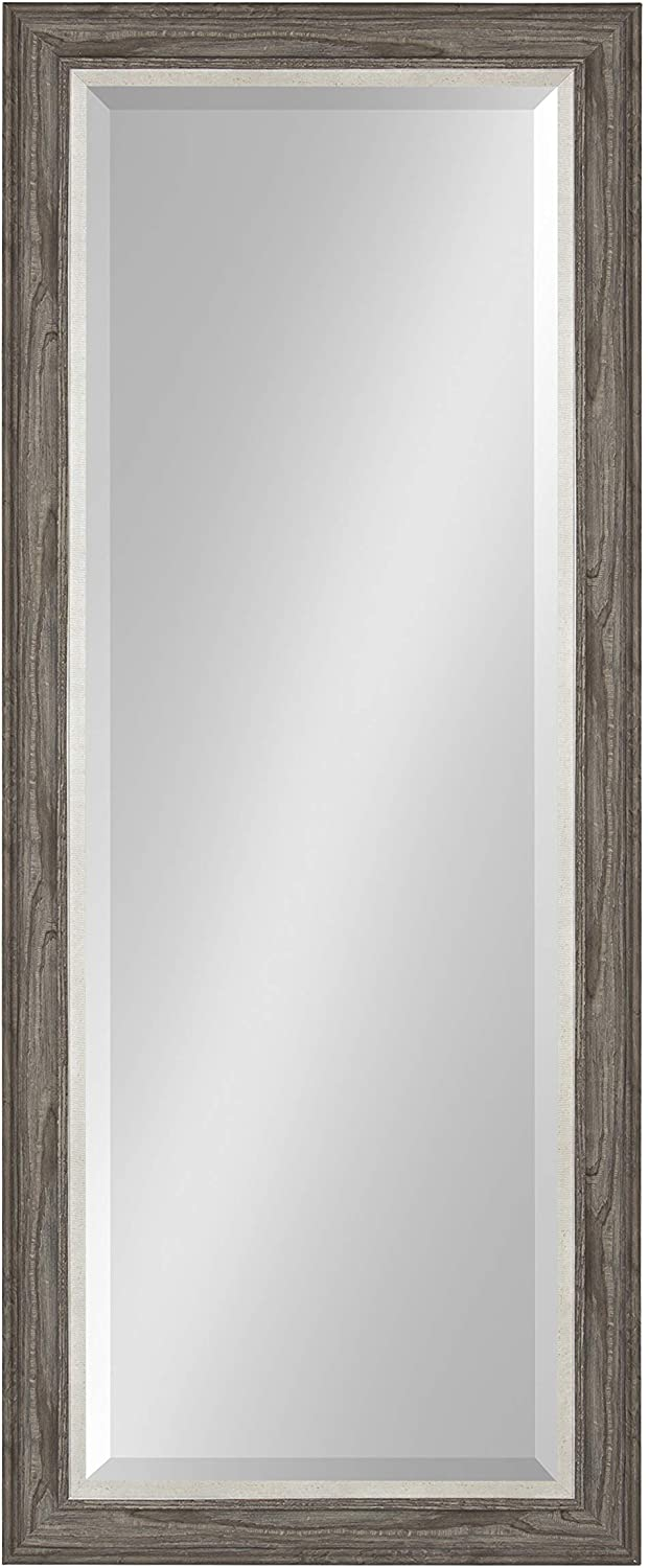 Kate and Laurel Woodway Decorative Frame Full Length Wall Mirror, 21.5x53.5 Rustic Gray