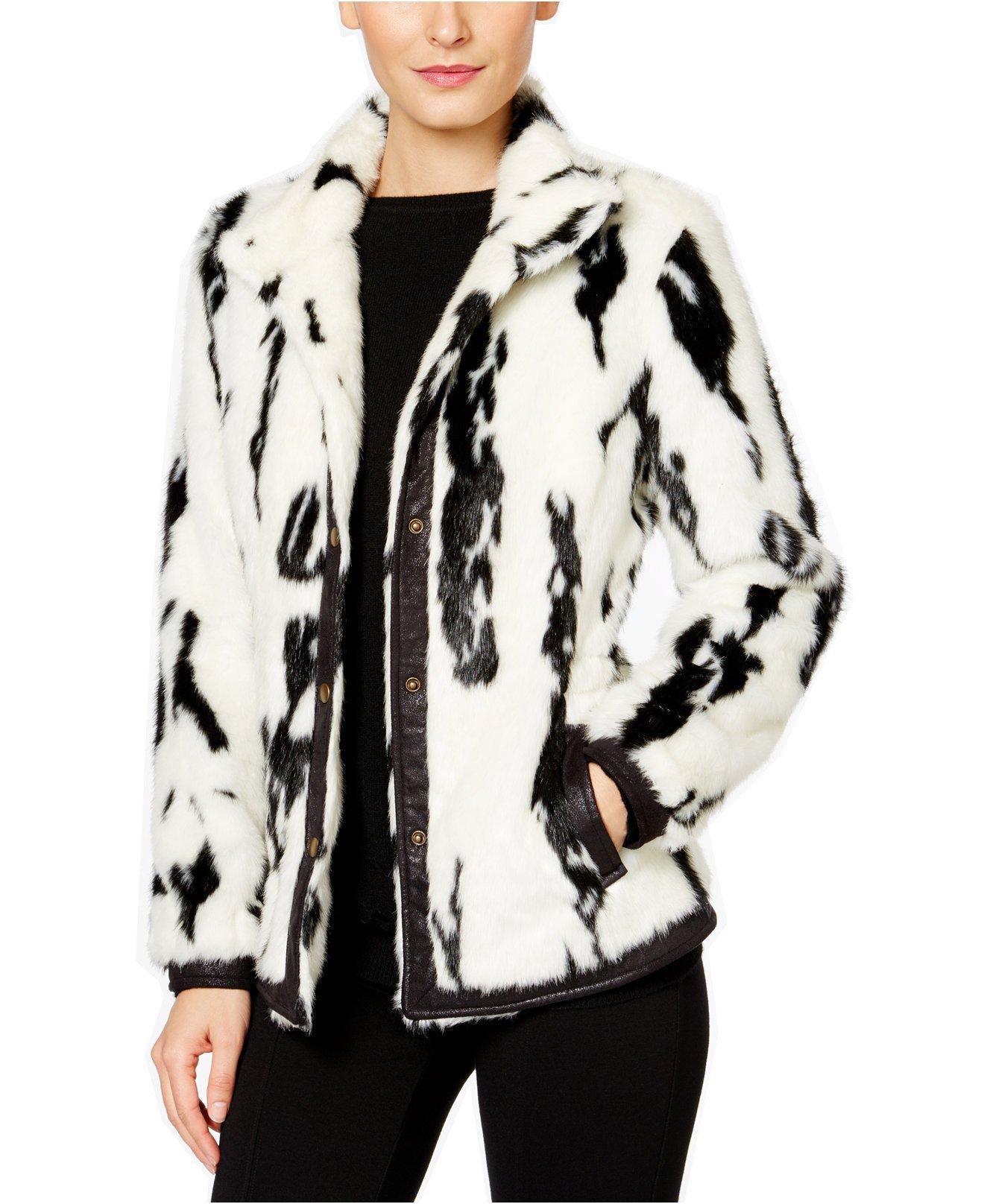 INC International Concepts Women's Faux-Fur Jacket (Large, Washed White)