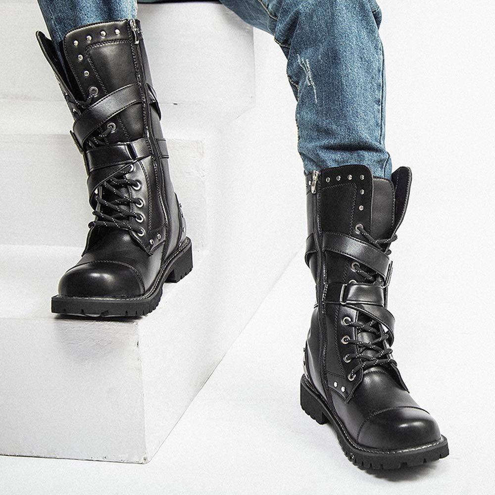 Martin-Stiefel mit hohem Schlauch für Herren, 38-45 Schwarze Schwarze Schwarze Stiefel für Jungen, Herrenstiefel Motorradstiefel aus Leder 43429f