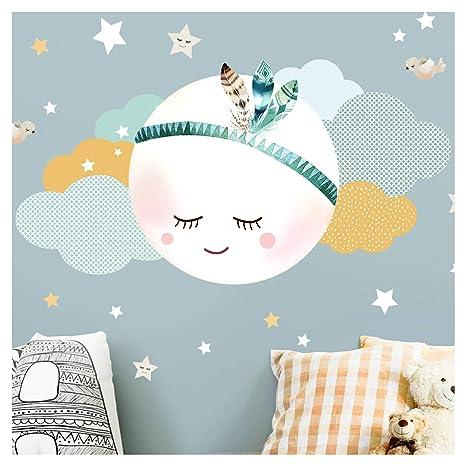 Little Deco Wandsticker Mond & Wolken I Mint/Grau M - 39 x 20 cm (BxH) I  Kinderzimmer Wandtattoo Junge Baby Deko Zimmer DL246-2-M