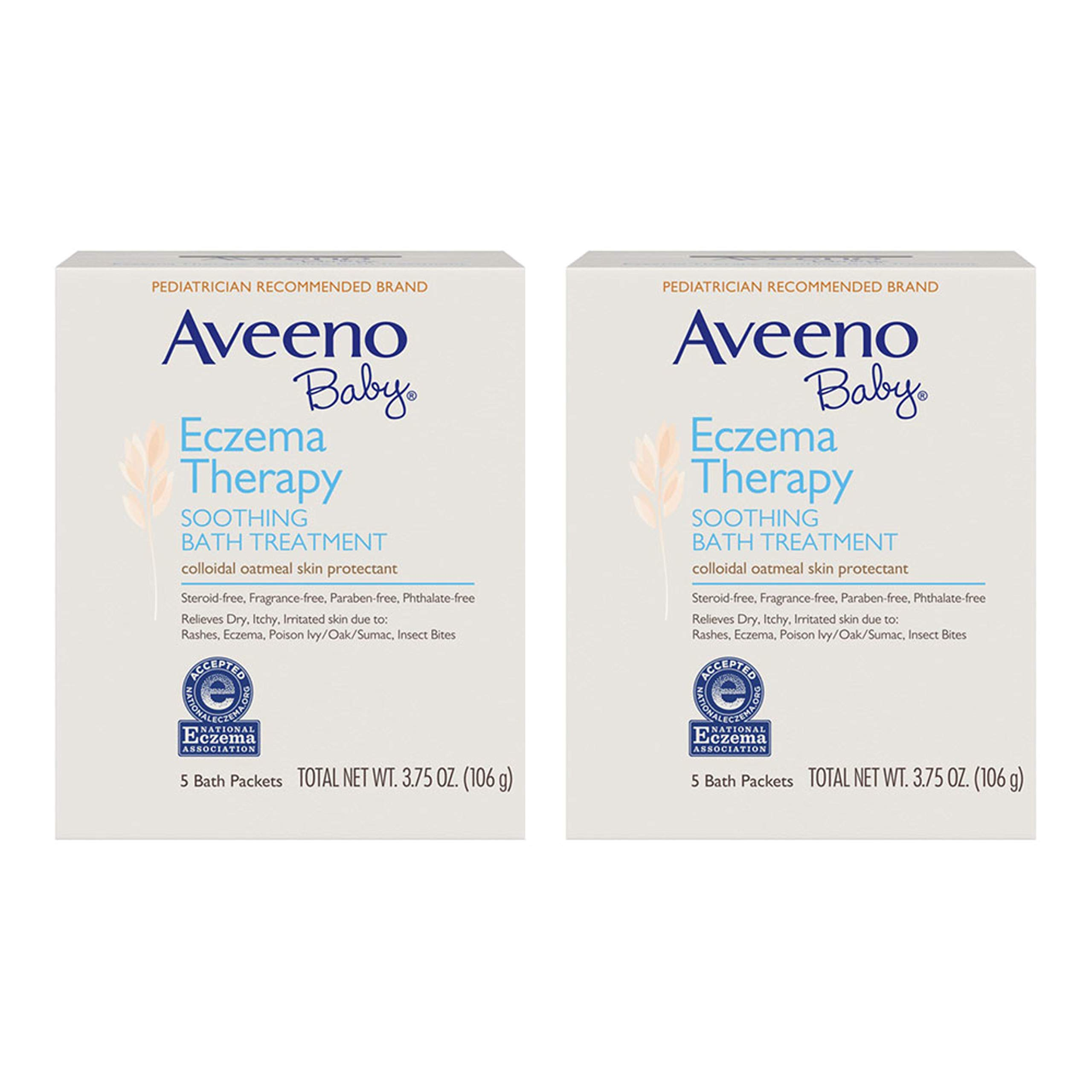 Aveeno Baby Eczema Therapy Soothing Bath Treatment for Relief of Dry, Itchy and Irritated Skin, Made with Soothing Natural Colloidal Oatmeal, 5 ct. (Pack of 2)