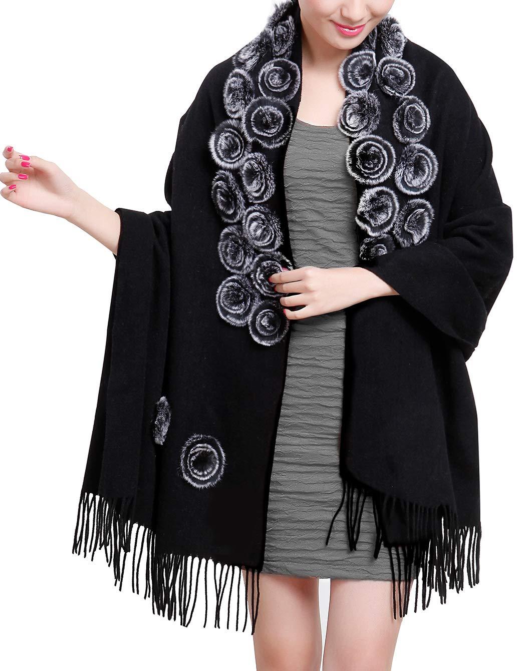 MORCOE Women's Exotic Design 100% Wool Rabbit Fur Roses Soft Scarf Warm Wrap Evening Party Pashmina Shawl Gift (Black)