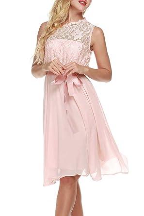 Meaneor Damen Elegant Spitze Brautjungfernkleid Rosa Festliches  Chiffonkleid A-Linie Cocktailkleid Ärmellos Knielang Gürtel Hochzeit  Amazon .de  Bekleidung b2f58ac955