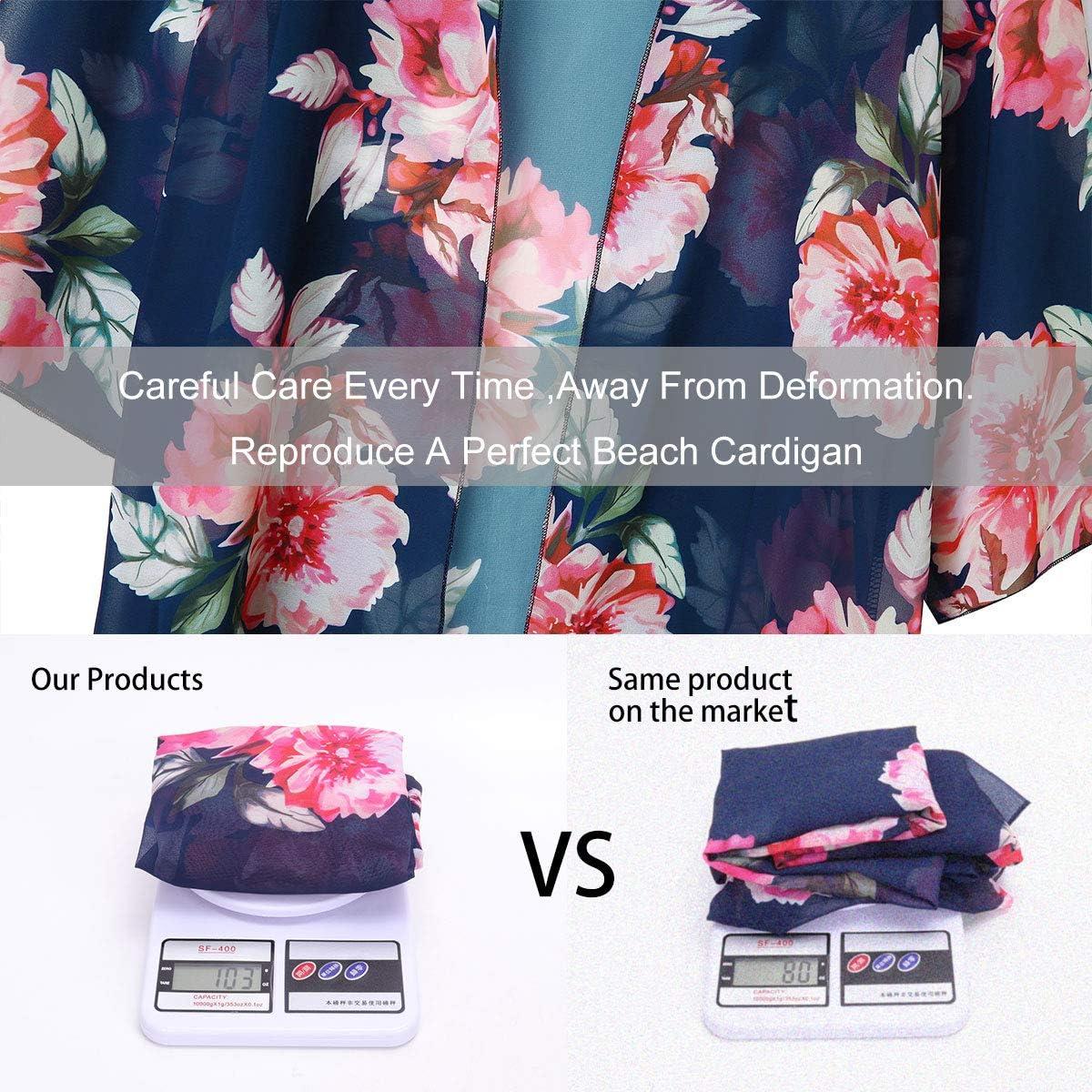 Floral Cover Up Chiffon Print Loose Shawl Beachwear Boho Summer Casual Blouse Swimwear Cardigan Swimsuit for Ladies YONHEE Women Floral Kimono Cardigans