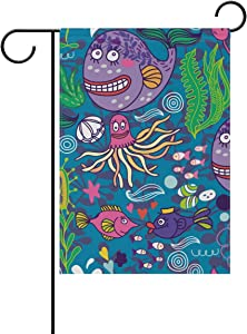 ALAZA Funny Whale Octopus Fish Decorative Garden Flag 12 x 18 inch Double Sided Yard Flag