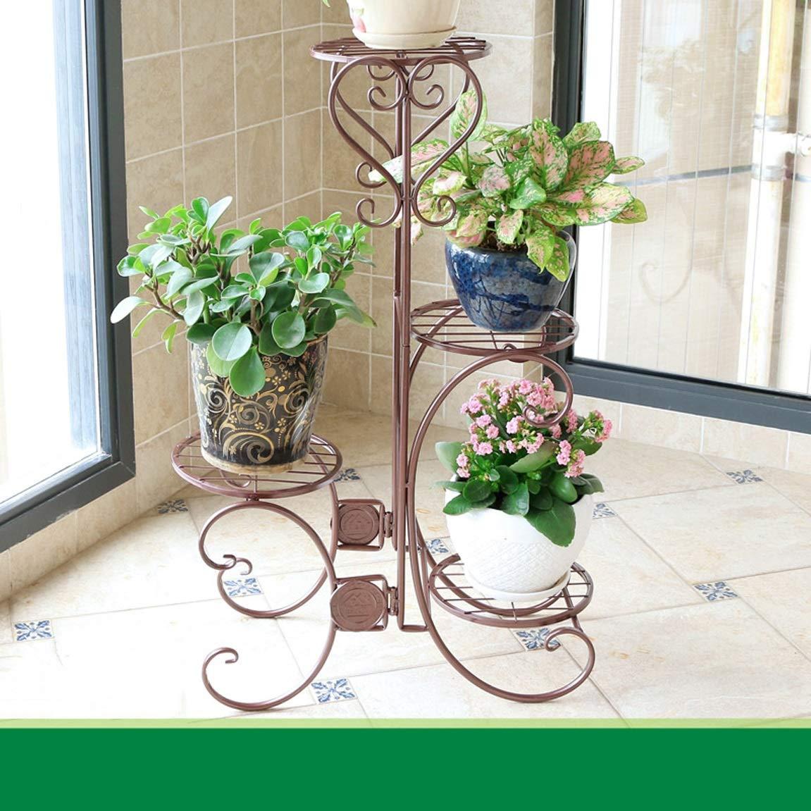 HLQW Bräunliches europäisches Blumen-Gestell, mehrstöckiges Inneneisen-Kunst-Balkon-Wohnzimmer, grünes Lounge-Boden-Art Blumen-Topf-Gestell