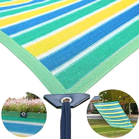 Malla Sombra, Panel de Privacidad Cubierta de Cerca de Sombra con Arandelas y Protector de Esquina, Tela de Protección Solar para Patio/Toldo/Ventana/ Pérgola/Mirador, Rayas de Colores: Amazon.es: Hogar