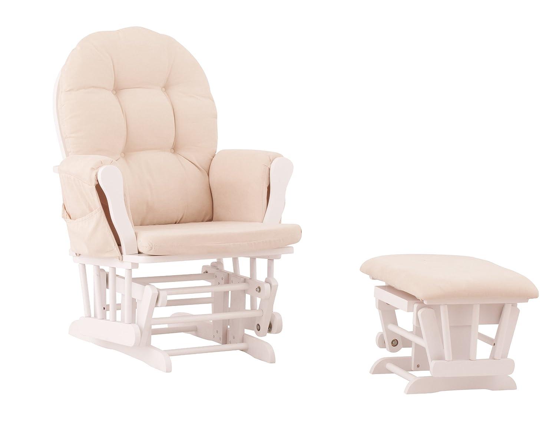 Amazon com  Status Roma Glider and Nursing Ottoman  White Beige  Baby. Good Chairs For Nursing. Home Design Ideas