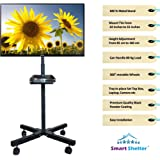Smart Shelter LCD/LED TV Foldable Height Adjustable Pedestal Trolley/Stand/Mount (100% Made of Metal)