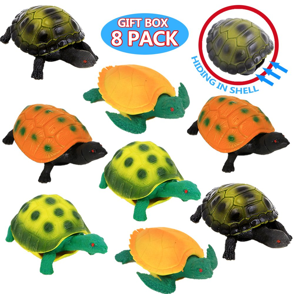 4 Pack Turtle Toys,5 Inch Rubber Tortoise Turtle Sets ,Great Safety Material TPR Super Stretchy,Can Hide in Shell,Zoo World Sea Ocean Animal Bathtub Bath Pool Toy Party Favors Boys Kids ValeforToy