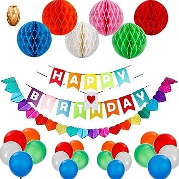 Decoraciones de Feliz Cumpleaños,Feliz cumpleaños decoraciones Pancartas Happy Birthday Banners ,Rainbow Paper Guirnaldas 110Inch + 6 Bolas de Celda ...