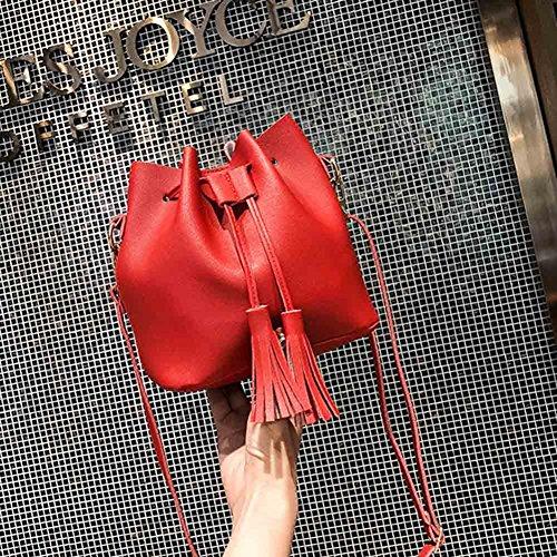 Leather Bags Women Tassel Small Handbag Drawstring Messenger Crossbody PU Bucket Red Bag Cutogain zxw6qPg6