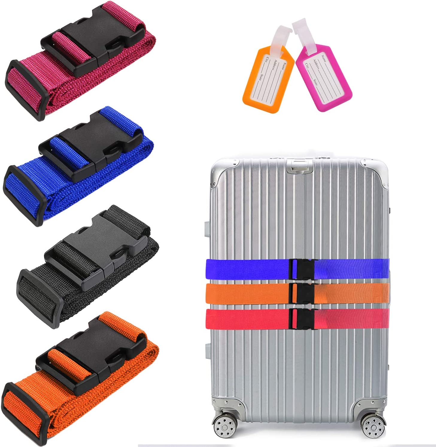 Yufenge Luggage Straps Suitcase Belts Adjustable Heavy Duty Long Cross Travel Accessories 4 Pack Multicolor jglstrapmultic
