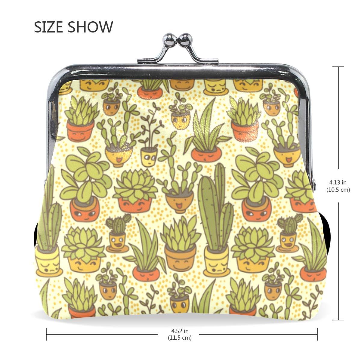 Fashion Womens Coin Purse Potted Plants Cactus Cartoon Faces Vintage Pouch Kiss-lock Mini Purse Wallets