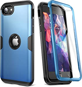 [2020 Upgraded] YOUMAKER iPhone SE 2020 Case, Full Body Rugged with Built-in Screen Protector Heavy Duty Protection Slim Fit Shockproof Cover for iPhone SE 2020 Case 4.7 Inch (2020) - Blue/BK