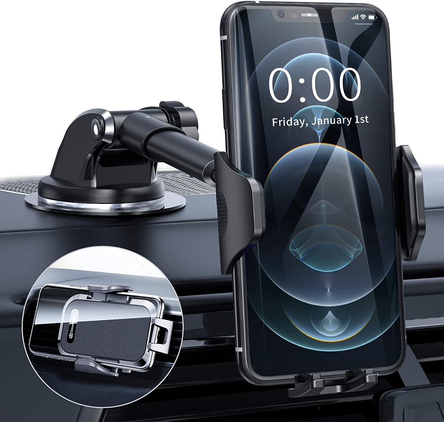 Compatible with iPhone SE 12 11 Pro X XS Max XR Galaxy S20 Note10 All Phones Cell Phone Car Mount Phone Car Holder Dashboard Windshield Air Vent Strong Suction Cup