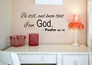 """Imprinted Designs Be Still and Know That I Am God - Psalm 46:10 Vinyl Wall Decal Sticker Art - Religious Home Decor Wall Art Sticker Decals for Living Room Bedroom (9"""" X 23"""")"""