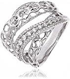 0.90CTS Certified G/VS2 Brilliant Cut Fancy Diamond Set Twist Ring in 18k White Gold