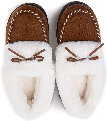 Ladies Comfort Memory Foam Slippers Wool Like Plush Fleece Lined