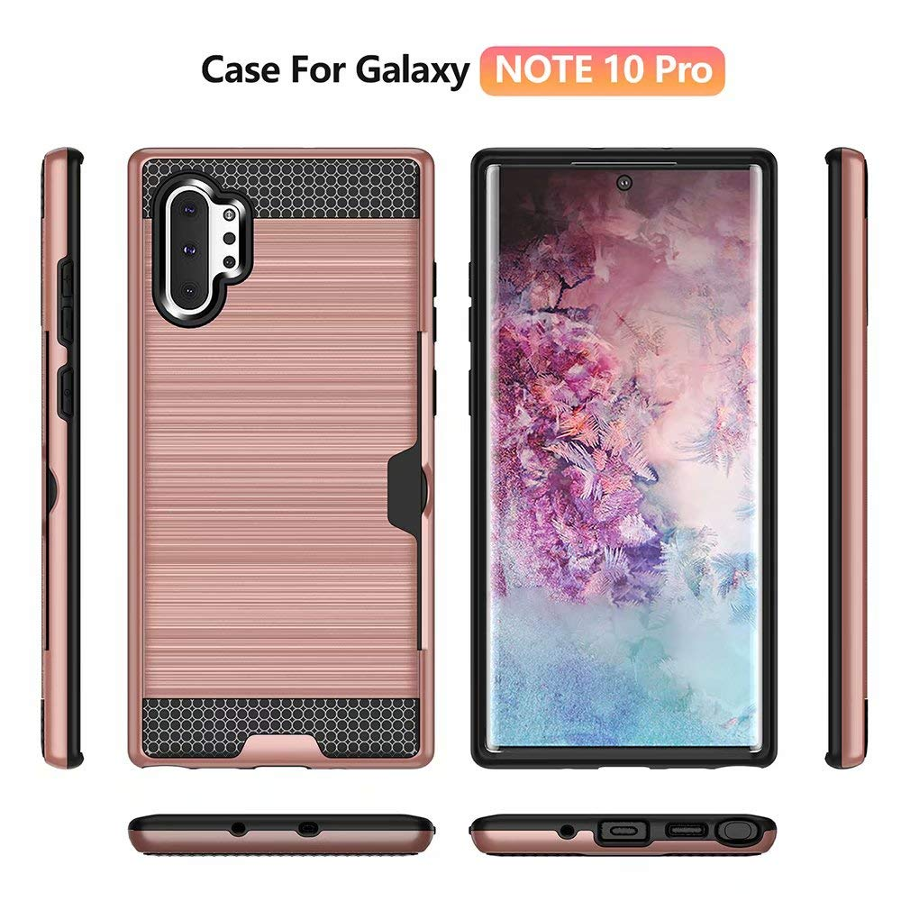 Tznzxm Galaxy Note 10+ Plus/Pro/5G Case, Slim Fit 2 in 1 Lightweight Armor [Card Slots Wallet ] Drop Protective Defender Shockproof Non Slip Back Case for Samsung Galaxy Note 10 Plus Rose Gold by Tznzxm
