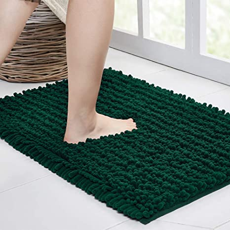 Amazon Com Walensee Large Bathroom Rug Non Slip Bath Mat 47x17 Inch Hunter Green Water Absorbent Super Soft Shaggy Chenille Machine Washable Dry Extra Thick Perfect Absorbant Best Plush Carpet For Shower Floor