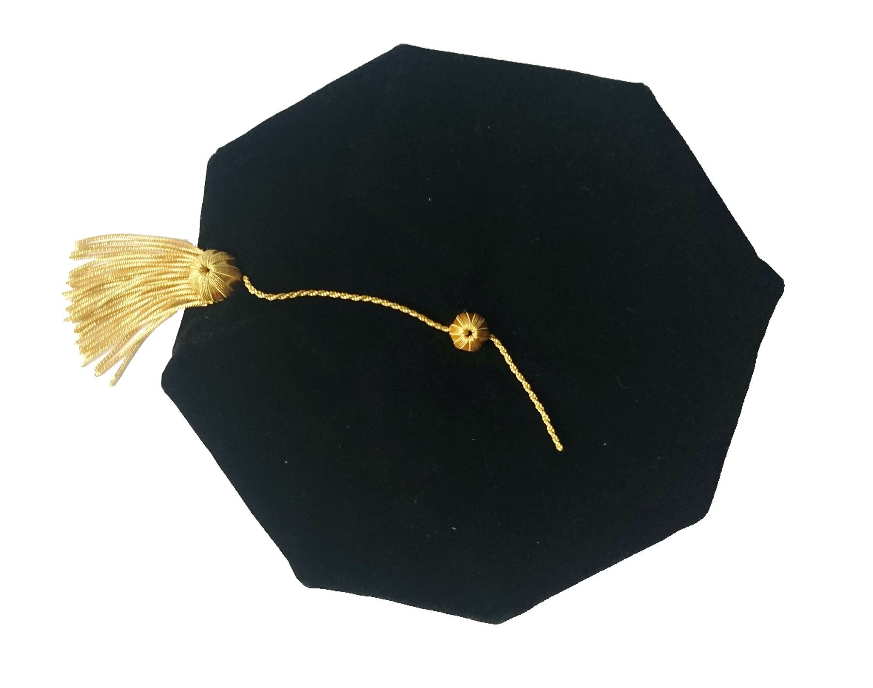 Doctoral Graduation Tam Unisex Black Velvet 8-sided with Gold Bullion Tassel Satin Silk Band Grad Days
