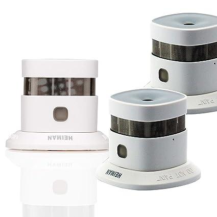 Mini detector de humo y alarma antiincendios de Heiman (color blanco, set de 3