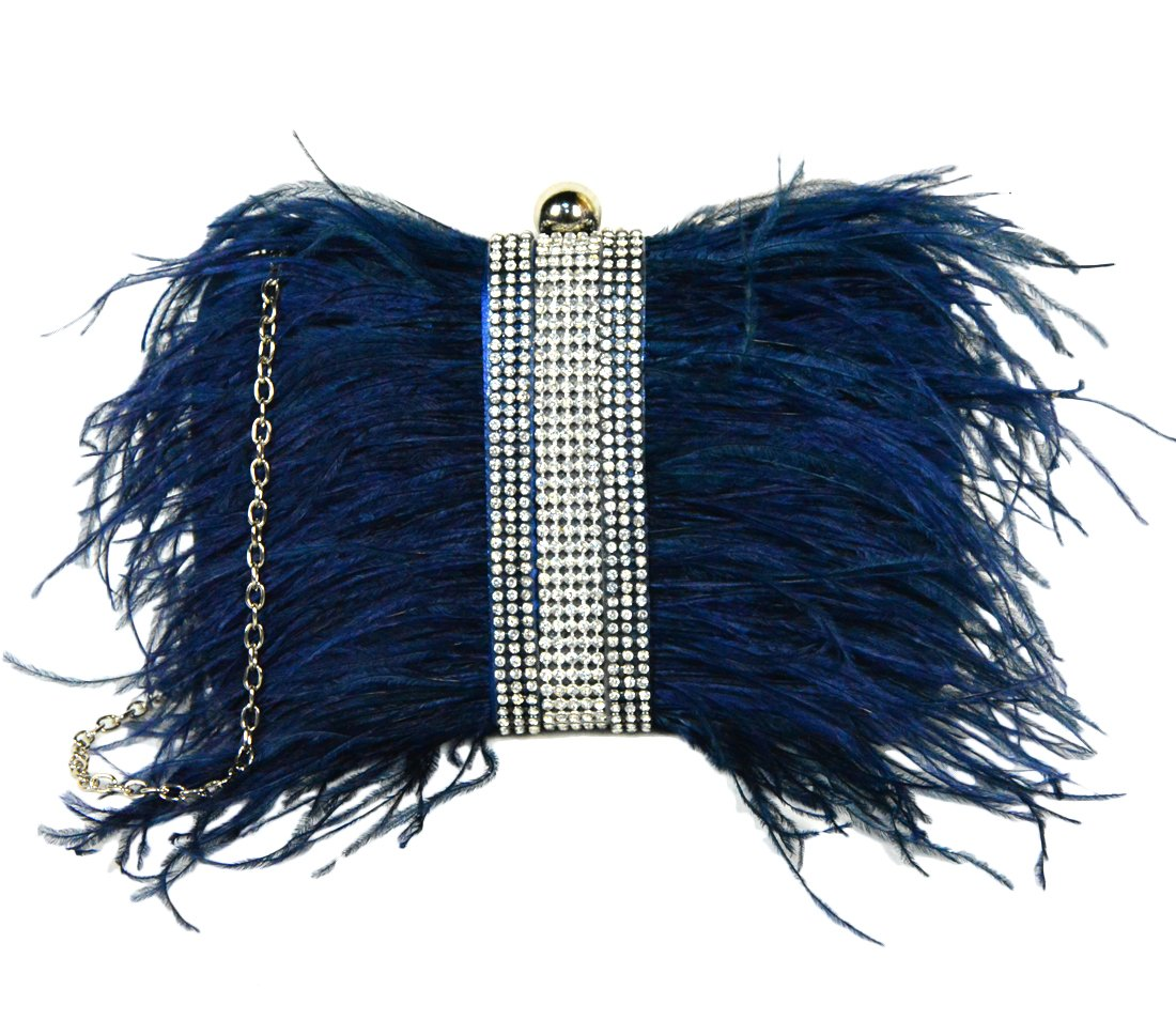 Zakia Real Natural Ostrich Feather Evening Clutch Shoulder Bag Party Bag (Navy-C)