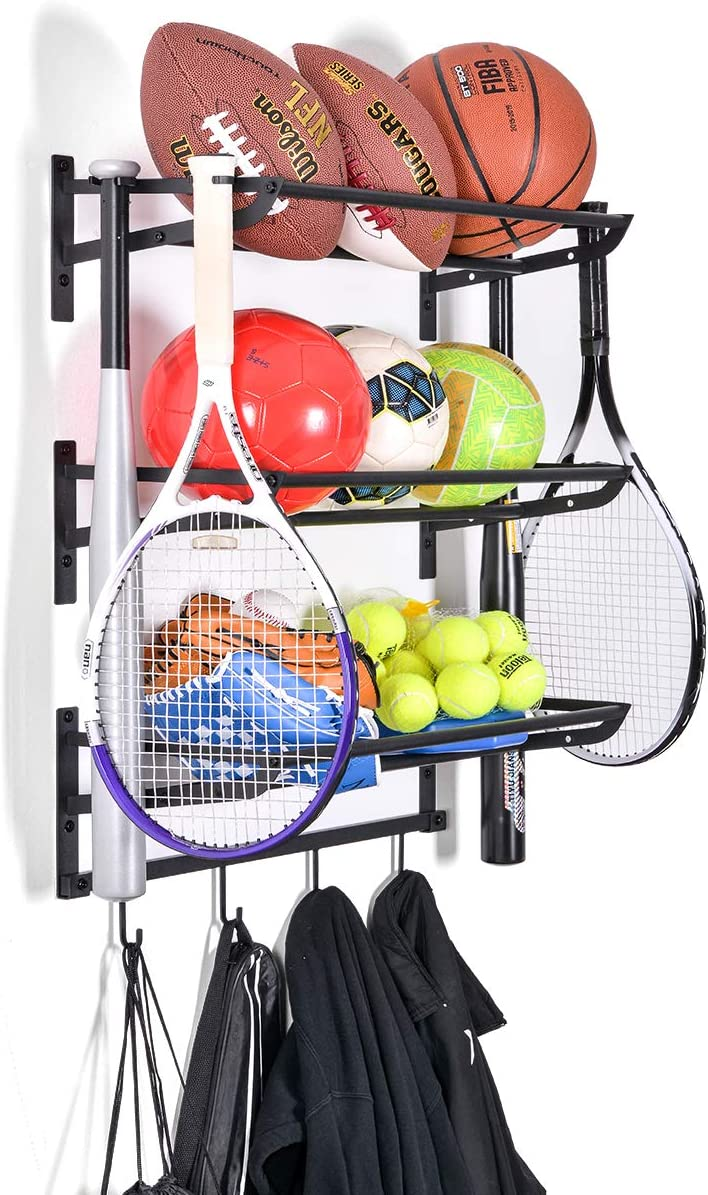 Sunix Sports Equipment Storage, Ball Storage Rack Basketball Holder Wall Mount Shelf with Hooks, 3 Racks, Black