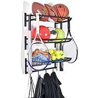 Sunix Sports Equipment Storage, Ball Storage Rack Basketball Holder Wall Mount Shelf with Hooks, 3 Racks, Black