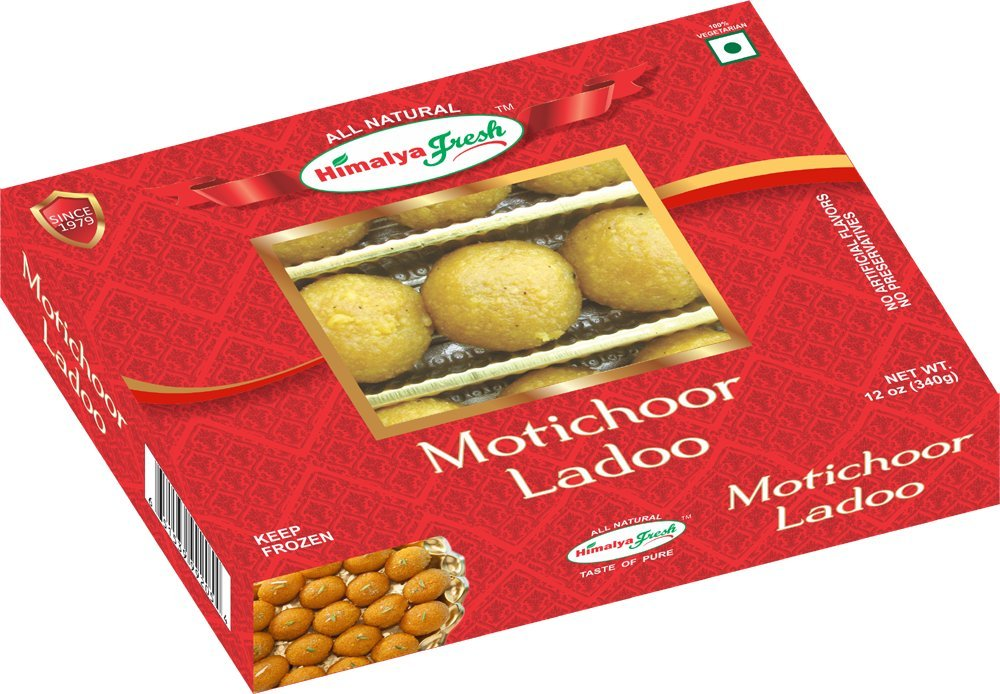 HIMALYA FRESH Motichoor Ladoo 12oz - Premium Authentic Indian Food & Sweets Made With Gram flour, Sugar & Vegetable Oil - No Fillers Or Preservatives by Himalya Fresh