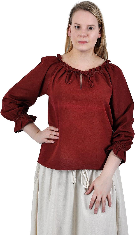 Blusa medieval ligera - manga larga - mujer - escote ajustable con acordonado - algodón - roja - XXXL: Amazon.es: Ropa y accesorios