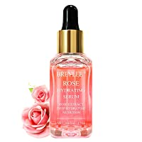 Rose Face Serum, BREYLEE Moisturizing Serum Hydrating Face Serum Rose Essence with Rose Petals Extract Hyaluronic Acid Trehalose B5 Vitamin Alcohol Free Facial Skin Care(17ml,0.6fl oz)