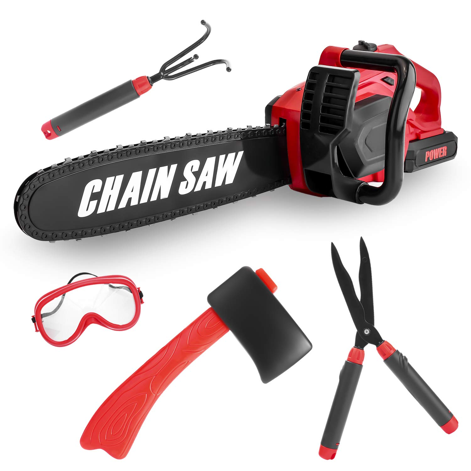 Kids Size Power Construction Yard Toy Pack Tool Big Play Realistic Giant Chainsaw with Sound, Toddlers Pretend Play Yardwork Lawn Equipment Giant Plastic 20'' Chains Saw for Boys Garden Tool