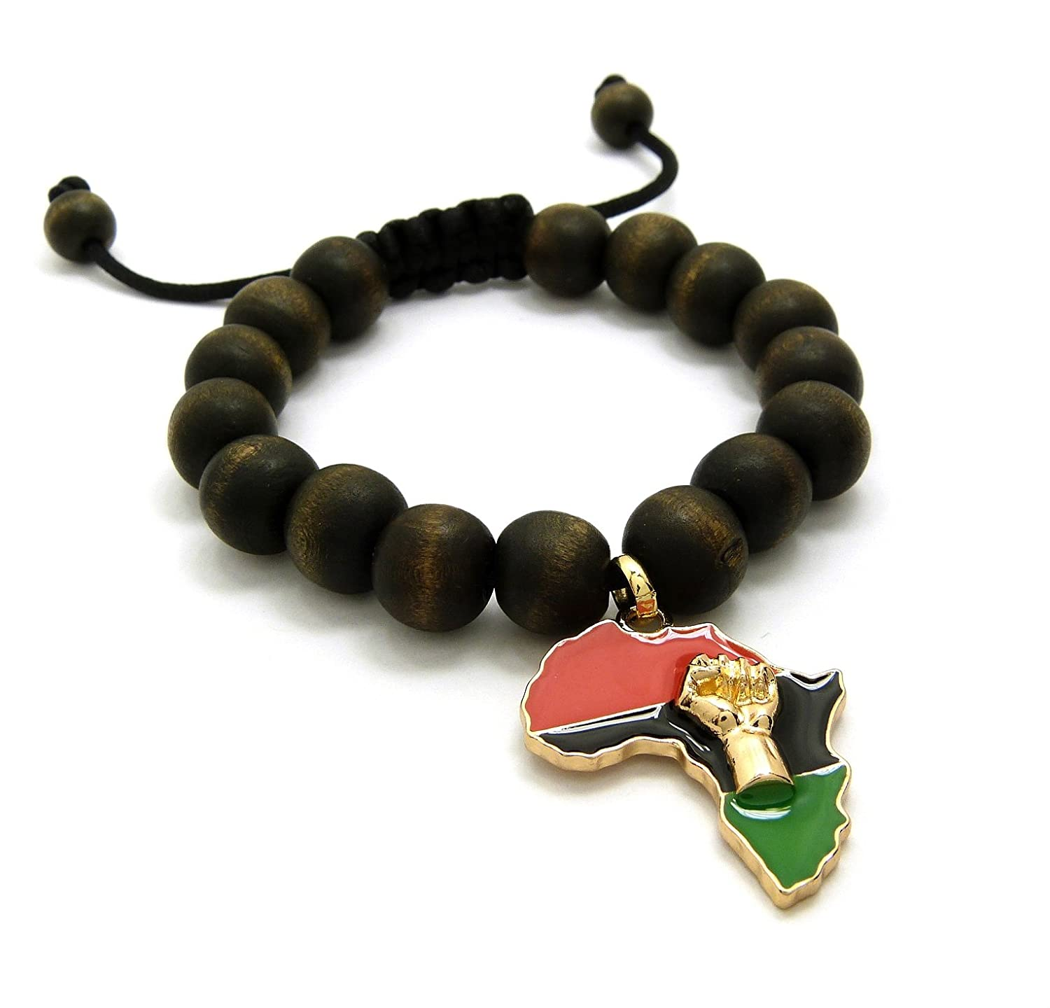 Pan Colored Fist Power in Africa Map Charm Adjustable Wooden Bead Bracelet in Black, Brown Fashion21 RB26G-WBK