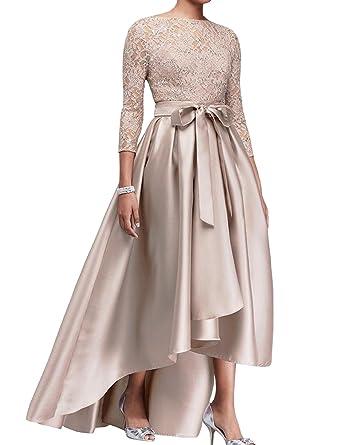 0899e90eff1888 ShineGown Chic Champagner High-Low Pailletten Top Satin Kleid für Mutter  der Braut Hochzeit Gast: Amazon.de: Bekleidung