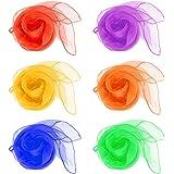 QLOUNI 12 Stück Quadrat Schal Jonglier / Tanz Tücher Mehrfarbige Schals zum Jonglieren, Tanzen, Spielen